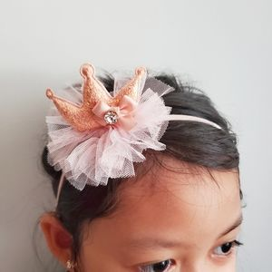 Kids Girls Headband Crown Tulle Peach Pink